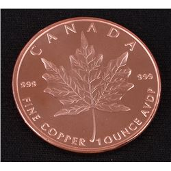 Maple Leaf 1 AVDP Oz. Fine Copper Replica Round
