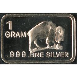 1 Gram .999 Silver Buffalo Bullion Bar