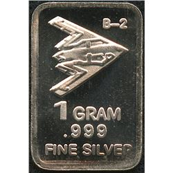 1 Gram .999 Silver B-2 Bomber Bullion Bar