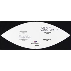 O.J. Simpson & Charles White Signed LE Football Panel (PSA COA)