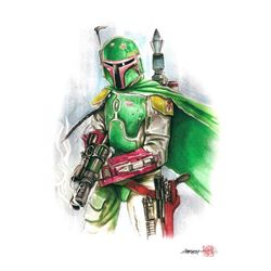 """Boba Fett"" Star Wars Limited Edition 8"" x 12"" Signed Comic Art Print by Thang Nguyen #10/50 (PA COA"