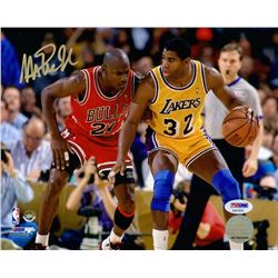 Magic Johnson Signed Lakers 8x10 Photo vs. Michael Jordan (PSA COA)