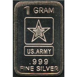 1 Gram .999 Silver U.S. Army Bullion Bar