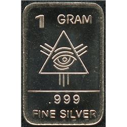 1 Gram .999 Silver Illuminati Bullion Bar