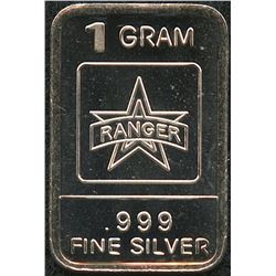 1 Gram .999 Silver Ranger Bullion Bar