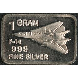 1 Gram .999 Silver F-14 Tomcat Bullion Bar