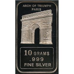 10 Grams .999 Silver Paris Arch of Triumph Bullion Bar