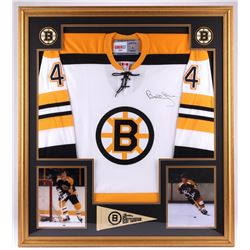 Bobby Orr Signed Bruins 35x39 Custom Framed Jersey Display (PSA COA)