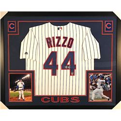 Anthony Rizzo Signed Cubs 35x43 Custom Framed Jersey Inscribed (Fanatics & MLB)