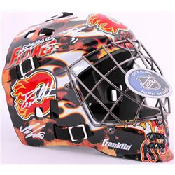 2015-16 Flames Goalie Mask Team Signed by (12) with Deryk Engelland, Sean Monahan, Karri Ramo, Joe C