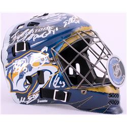 2015-16 Predators Goalie Mask Team Signed by (15) with Viktor Arvidsson, Peter Laviolette, Miikka Sa