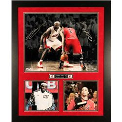 LeBron James & Derrick Rose Dual Signed LE 24x30 Custom Framed Photo Display (UDA COA & PSA)