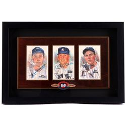 Mickey Mantle, Joe DiMaggio & Bill Dickey Signed Yankees 13x20x2 Custom Framed Shadowbox Display wit