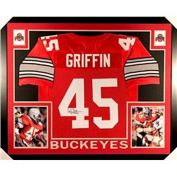 "Archie Griffin Signed Ohio State 35x43 Custom Framed Jersey Inscribed ""HT 1974/75"" (JSA COA)"
