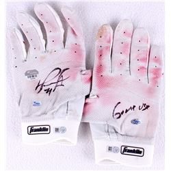 "Pair of (2) David Ortiz Signed Game-Used Franklin Batting Gloves Inscribed ""Game Use"" (MLB Hologram"
