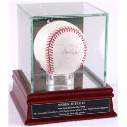 Derek Jeter Signed OML Baseball with High Quality Display Case (JSA)