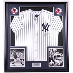 Yogi Berra Signed Yankees 35x39 Custom Framed Jersey Display (PSA COA)