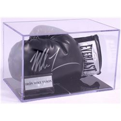 Mike Tyson Signed Black Everlast Boxing Glove with Display Case (JSA COA)