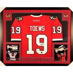Jonathan Toews Signed Blackhawks 35x43 Custom Framed Jersey (Frameworth COA)