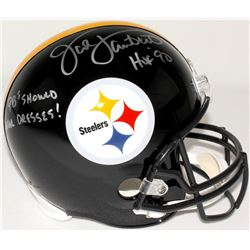 "Jack Lambert Signed Steelers Full-Size Helmet Inscribed ""HOF 90"" & ""QBs Should Wear Dresses!"" (JSA C"