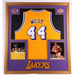 "Jerry West Signed Lakers 35x39 Custom Framed Jersey Display Inscribed ""HOF 1980-2010"" (PSA COA)"