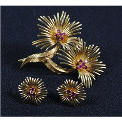 18K GOLD RUBY PIN & EARRINGS, STAMPED 750,