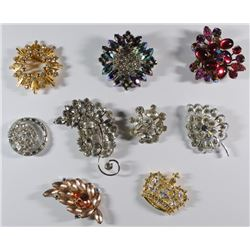 VINTAGE RHINESTONE JEWELRY LOT; DATING from 1940's & 50's,  ( 9 ) PIECES TOTAL