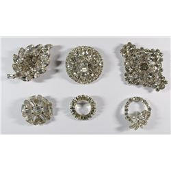 VINTAGE RHINESTONE BROOCH / PIN LOT - ( 6 ) TOTAL