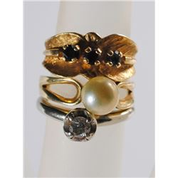 3 - 14k GOLD LADIES RINGS, TOTAL 5.9 dwt WEIGHT,  SMALL SIZES