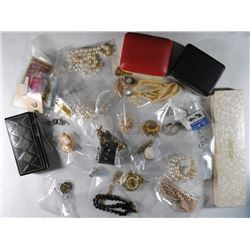 LARGE JEWELRY LOT; NECKLACES, CUFF LINKS, STERLING, CAMEO, Am. LEGION PINS,