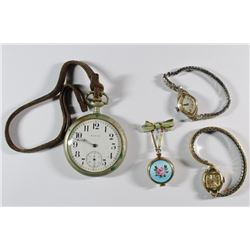 ANTIQUE WATCH LOT; ELGIN OPEN FACE POCKET WATCH (not running), LADIES BULOVA,