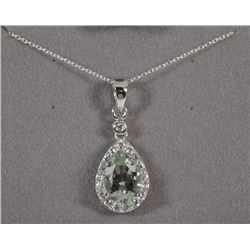 NECKLACE: STERLING SILVER PENDANT GENUINE PEAR CUT GREEN AMETHYST