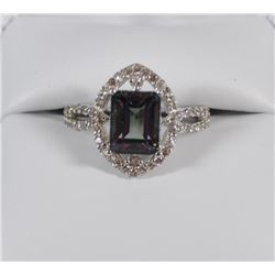 RING: STERLING SILVER MYSTIC TOPAZ WITH WHITE SAPPHIRES