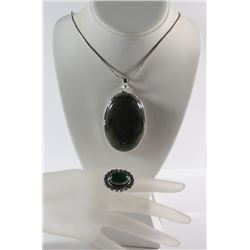 GERMAN SILVER LABRADORITE STONE PENDANT NECKLACE & GREEN ONYX RING (SIZE 7)