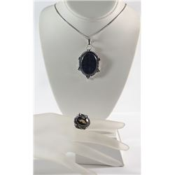 GERMAN SILVER LAPIS STONE PENDANT NECKLACE & SMOKY QUARTZ RING (SIZE 7)