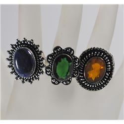 3 GERMAN SILVER RINGS: GREEN EMERALD SIZE 9, CITRINE SIZE 6 & LAPIS SIZE 9