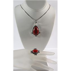 GERMAN SILVER RED CORAL PENDANT NECKLACE &  RING (SIZE 9)