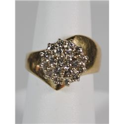 14 K YELLOW GOLD DIAMOND CLUSTER RING. 19 DIAMONDS ON THIS STUNNER. THIS RING