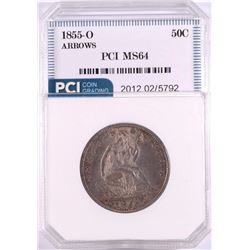1855-O ARROWS SEATED HALF DOLLAR PCI CH BU