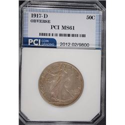 1917-D OBVERSE WALKING LIBERTY HALF DOLLAR, PCI CHOICE BU