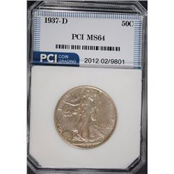 1937-D WALKING LIBERTY HALF DOLLAR,  PCI GEM BU