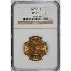 1882-S $10.00 GOLD LIBERTY, NGC MS-62