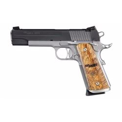 "*NEW* SIG SAUER 1911 Traditional 45ACP 5"" 8+1 Burled Maple Grip SS/Blk Finish 798681317479"