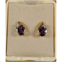 14 KT GOLD AMETHYST / DIAMOND EARRINGS.