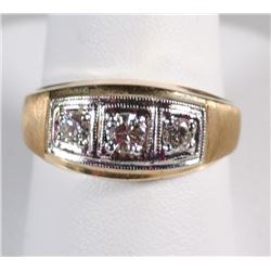 GENTS 14k YELLOW GOLD RING w/DIAMONDS - SIZE 10 - APPROX .50ct TOTAL - 4.5dwt