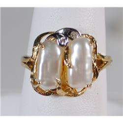 14k YELLOW GOLD PEARL & DIAMOND RING - SIZE 5.75 - EXCELLENT CONDITION