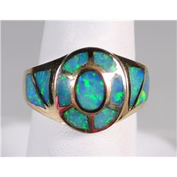 14k OPAL INLAY RING - EXCELLENT CONDITION - 4.7dwt TOTAL WEIGHT - COOL LOOKING!