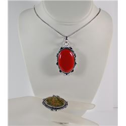 GERMAN SILVER RED CORAL NECKLACE & AGATE STONE RING (SIZE 8.5)