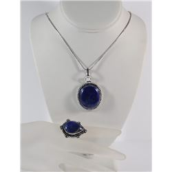 GERMAN SILVER LAPIS PENDANT NECKLACE & RING (SIZE 9)