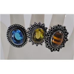 3 GERMAN SILVER RINGS: LEMON QUARTZ SIZE 8, BLUE TOPAZ SIZE 9 & TIGER EYE SIZE 6